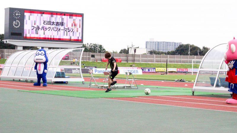 相模原ギオンスタジアムで夢体験!!障害者サッカー体験会にてワークショップ、なでしこリーグでパフォーマンスをさせて頂きました。